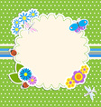 Frame with flowers and butterfly ladybugdragonfly vector image