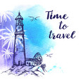 travel background with lighthouse vector image