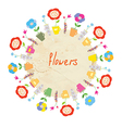 Abstract floral frame with pots vector image