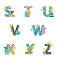 alphabet baby from S to Z vector image vector image