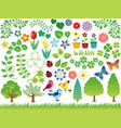 assorted spring and summer graphic elements vector image vector image