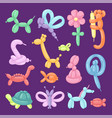 balloon animals cartoon set vector image