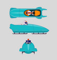 bobsleigh for two athletes winter sports concept vector image vector image