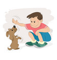 boy playing with a dog vector image