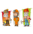 cartoon digger and lumberjack character set vector image vector image