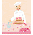 chef preparing a cake vector image vector image