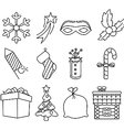 Christmas icons black and white vector image vector image
