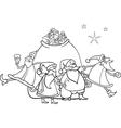 christmas santa claus coloring page vector image