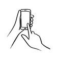close-up hand using smartphone vector image vector image