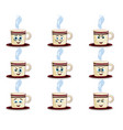 cup emoji set with cheeks eyes and smiling mouth vector image