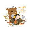 cute cartoon girl meeting autumn with bear vector image vector image