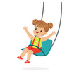 cute little girl swinging on a swing kid have a vector image vector image
