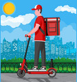 delivery man riding kick scooter with box vector image vector image