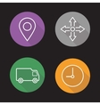 Delivery service flat linear icons set vector image