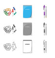 design office and supply sign set of vector image