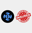 dollar care hands icon and grunge insured vector image vector image