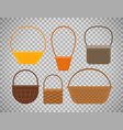 empty baskets on transparent background vector image vector image