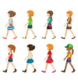Faceless teenagers walking vector image vector image