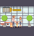 family go on vacation airport departure vector image