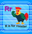 flashcard letter r is for rooster vector image vector image