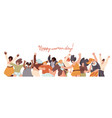 flat collection happy multiracial woman vector image