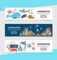 flat sea life horizontal banners vector image