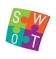 Four pieces colorful SWOT puzzle icon vector image vector image