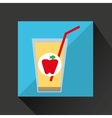 fresh juice apple and cup glass straw design vector image vector image