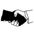 hand shaking with dark hand dangerous partner vector image