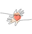 hands woman and man holding heart valentines day vector image