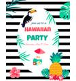 hawaiian bright invitation pineappletoucan text vector image vector image