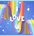 i love you card with rainbow bright colorful sky vector image vector image