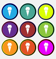 Ice Cream icon sign Nine multi colored round vector image