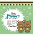 invitation baby shower twins boy bear vector image vector image