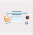 keyboard display note mouse coffee pen top vector image vector image