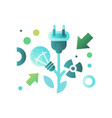 lightbulb and cable plug ecology concept eco vector image vector image