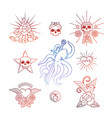 linear tattoos with skull elements vector image vector image
