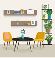 living room interior with furniture and houseplant vector image