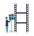 man with camera strip production movie film vector image vector image
