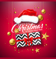 merry christmas with gift box santa vector image