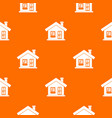 one-storey house with a chimney pattern seamless vector image vector image