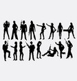people with gun silhouette vector image vector image