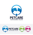 pet care logo design vector image vector image