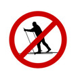 prohibition sign for cross-country skiing vector image vector image