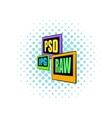 PSD JPG RAW file icon comics style