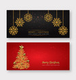 Red and golden merry christmas banner background