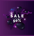 sale poster black drops on background abstract vector image