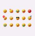 set emoticons emoji flat design avatar 3d web vector image