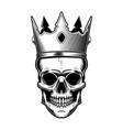 skull with king crown design element for poster vector image vector image