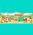 summer camp on beach vector image vector image